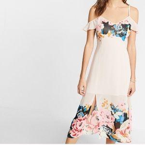 Express Dresses - Express Pink Floral Off-the-Shoulder Midi Dress